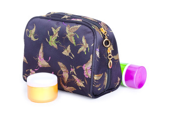 Travel toiletries bag with cosmetics