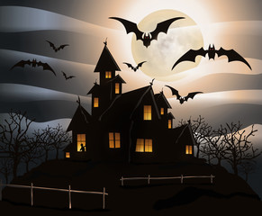 Halloween 4 - castle in full moon , bats flying