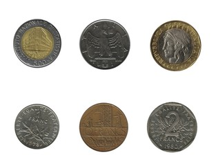 Italy and France; old and new coins