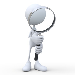 3d human and magnifying glass