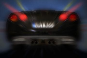 Fast car rear view