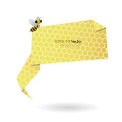 Bee carry honeycomb origami speech bubble