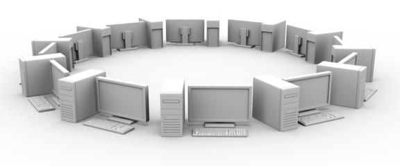白黒円形状のパソコン