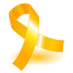 Yellow awareness ribbon and shadow