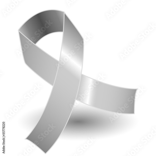 Silver awareness ribbon and shadow