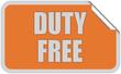 Sticker orange eckig curl oben DUTY FREE