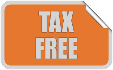 Sticker orange eckig curl oben TAX FREE
