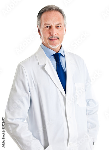 Doctor portrait isolated on white