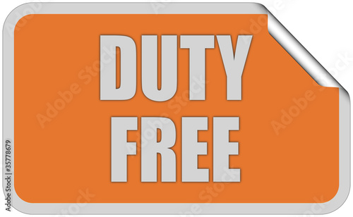 Sticker orange eckig curl oben DUTY FREE