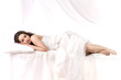 woman sleeping over a white background