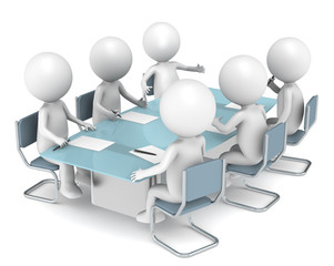 3D people X6 in the meeting room. Business People series.