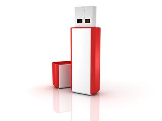 Red stylish USB flash drive