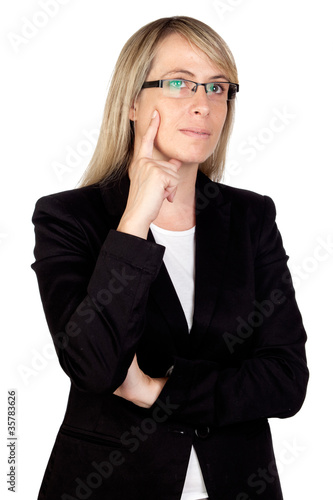 Pensive businesswoman with glasses