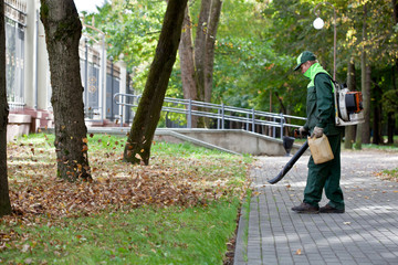 Landscaper operating gas Leaf Blower