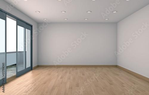 Interno vuoto con finestra rendering