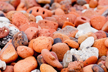 Old worn bricks on beach