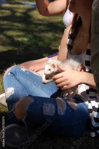 A girl holding ferrets