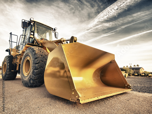 Leinwanddruck Bild Industrial construction equipment Bulldozer