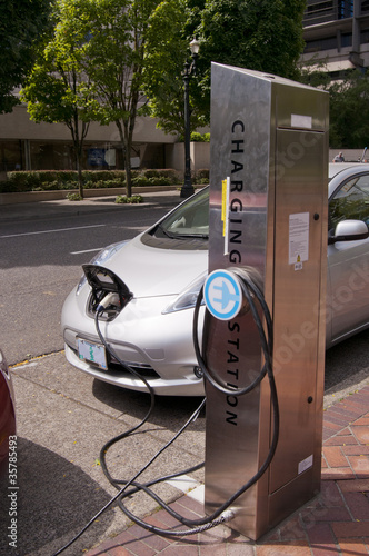 Electric car at a charging station in Portland Oregon