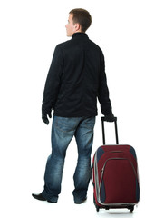 Businessman with a suitcase on a white background.