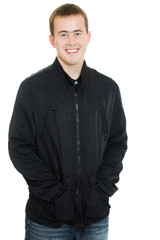 Businessman smiling on white background.