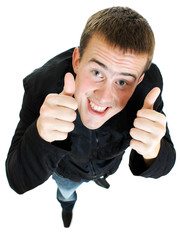 Funny man Ok on a white background.