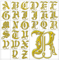 abc alphabet background royal gold design