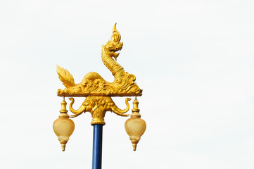 thai traditional street lamp, Golden Naga