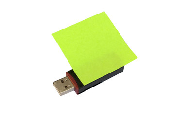 Usb with sticker note isolated