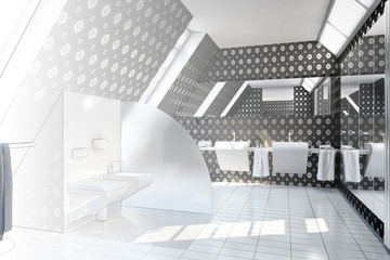 Bathroom designed black (drawing)