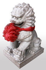 China lion statue in temple china, in thailand.