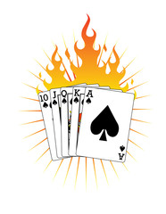 Royal Flush on Fire! Vector / Clip Art