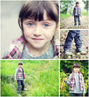 Adorable child girl indian summer time collage