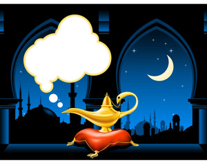 Magic lamp on the pillow and arabic city skyline