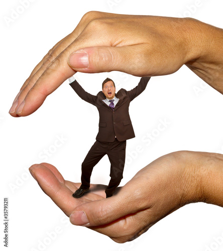 Businessman in the hand