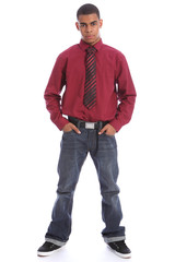 Smart young African student in jeans shirt and tie