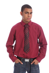 Teenage African student boy formal shirt and tie
