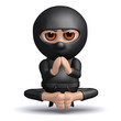 3d Ninja meditates while levitating.