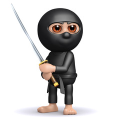 3d Ninja and Katana looking pretty mean