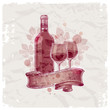 Hand drawn wine bottle & glasses on vintage paper background