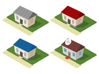 Isometric set of residential houses