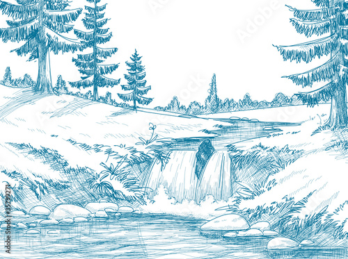 Mountain river pencil drawing - 35799271