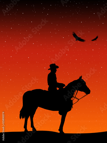 Cowboy looking at the starry sky