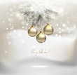 Christmas background with silver evening balls