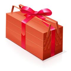 Boite à outils en cadeau (ruban rouge)