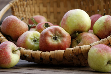 Fresh apples in a basket