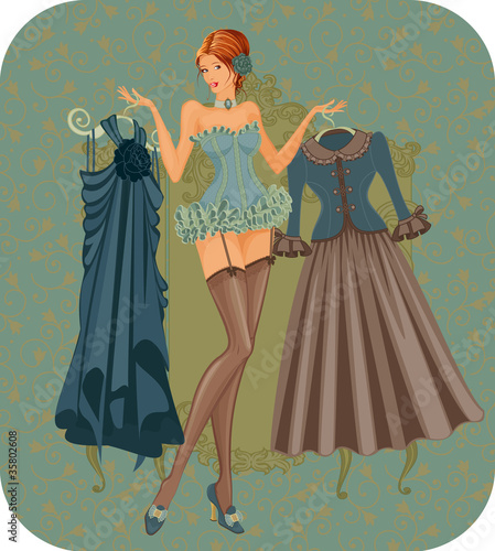 Illustration of  woman in corset with dresses in vintage style