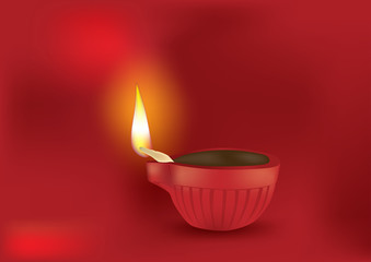 Diwali Diya in Red Background - Vector Illustration