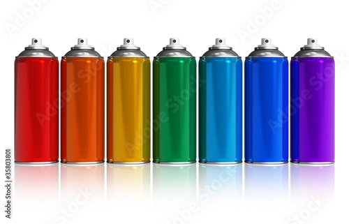 Set of rainbow paint spray cans