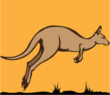 Kangaroo running/jumping vector